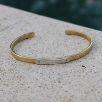 "Mixed metals ""be wise"" adjustable inspirational bracelet"