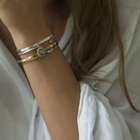 Simple silver cuff with raw diamonds