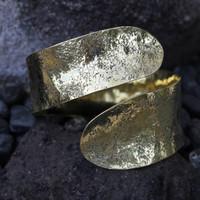Antique brass textured adjustable wrap cuff