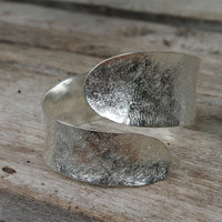 Silver textured adjustable wrap cuff