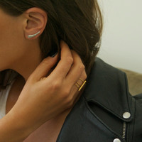 Delicate silver ear cuff earrings