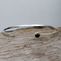Adjustable dainty silver cuff with black stone detail