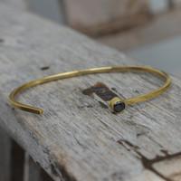 Adjustable dainty brass cuff with black stone detail