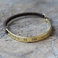 """Inspirational leather and brass bracelet """"take me to the mountains"""""""