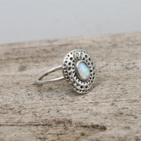 sterling silver ring with moonstone detailing