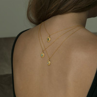 gold filled delicate chain necklaces with green agate, moonstone or turquoise stone detailing