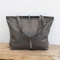 grey leather tote bag with minimalist closure
