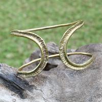 textured brass adjustable statement cuff