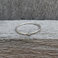 Sterling silver stacking ring with raw diamond detail