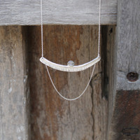 Textured bar with moonstone detailing and multi-length sterling silver chain