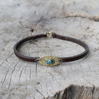 chocolate leather bracelet with brass and turquoise detailing