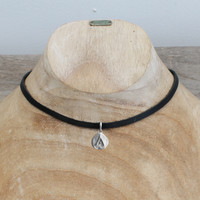 """black leather necklace with silver plated """"protect"""" pendant"""