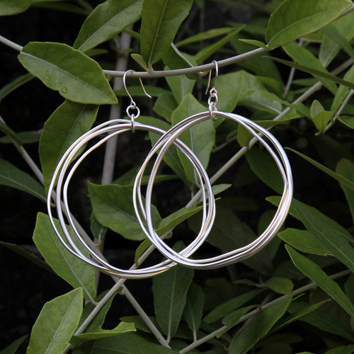 Large multi hoop silver earrings with sterling silver posts