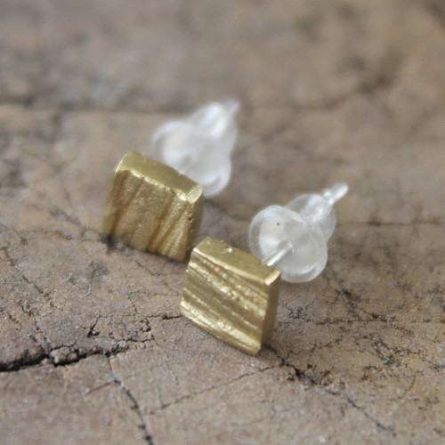 Textured square small brass stud earrings with sterling silver posts