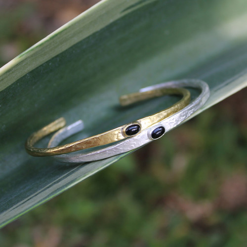 Brass thin cuff with black agate inset stone and silver thin cuff with black agate inset stone
