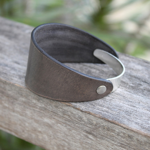 Silver with grey leather bracelet