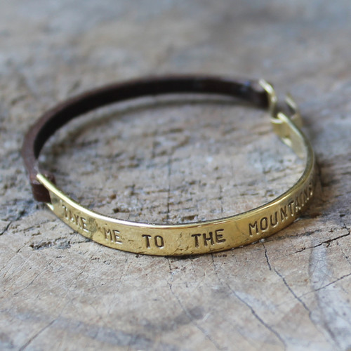 "Inspirational leather and brass bracelet ""take me to the mountains"""