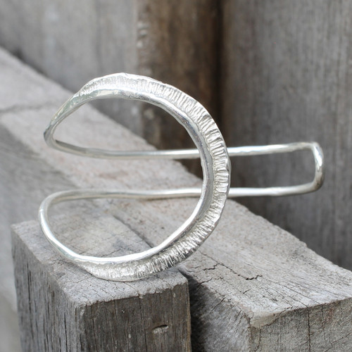 textured adjustable silver plated brass cuff