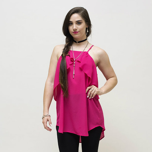The spaghetti strap with open shoulder and curved ruffles call attention to your top.