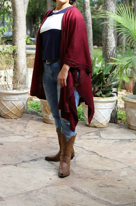 Shawl Poncho - Red and Black