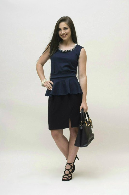 Shown here with optional peplum add-on.