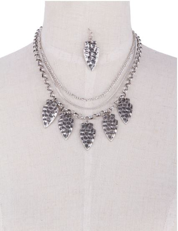 Hammered Arrowhead Necklace