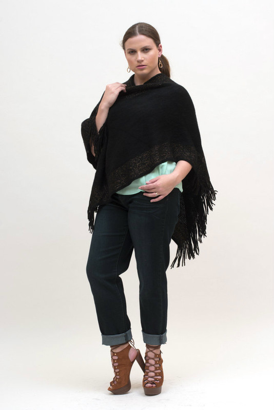 Closed Black Poncho