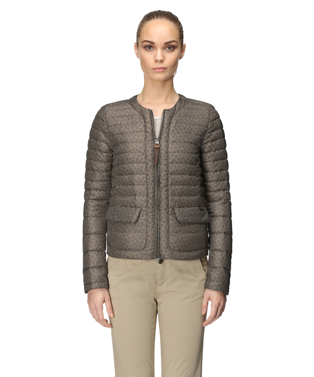 Women's Printed No Collar Down Jacket