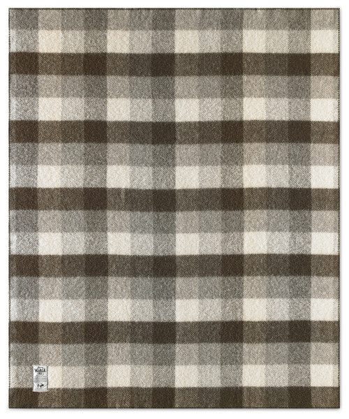 "Suffolk Buffalo Check Undyed 100% Wool Blanket (60""x70"")"