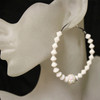 White diamond bead earring