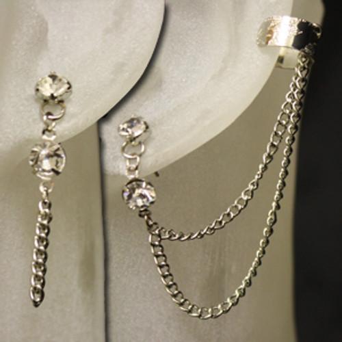 Diamond stud  with chain ear cuff set