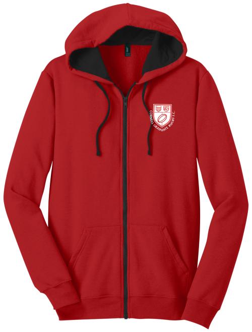 Cornell Graduate Rugby Full Zip Hoodie, Red