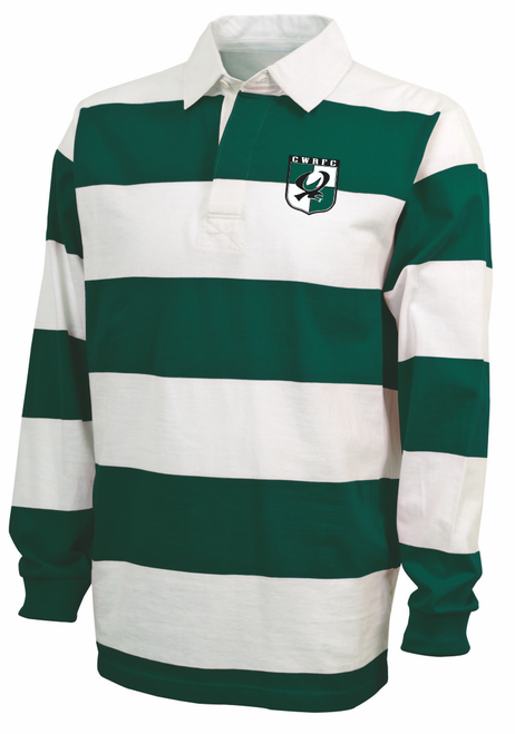 Chesapeake Rugby Stripe Polo, Forest/White