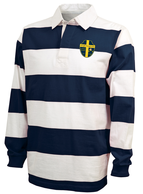 Downingtown Rugby Stripe Polo, Navy/White