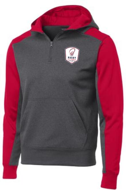 Rugby Illinois 1/4-Zip Performance Fleece Hoodie, Gray/Red