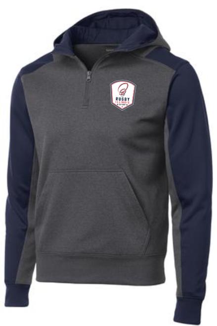 Rugby Illinois 1/4-Zip Performance Fleece Hoodie, Gray/Navy