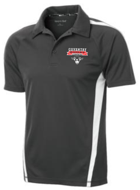 Coventry Colorblock Performance Polo, Iron Gray/White