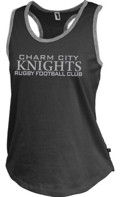 Charm City Knight Ladies-Cut Racerback Tank, Heathered Black