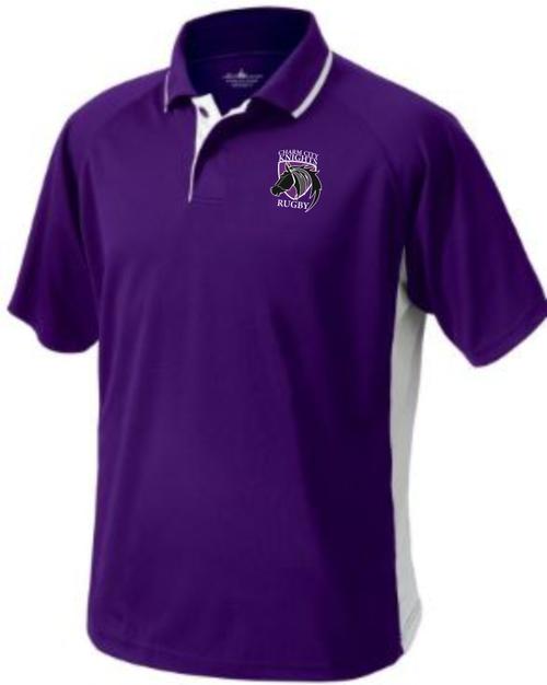 Charm City Knights Performance Polo, Purple/White