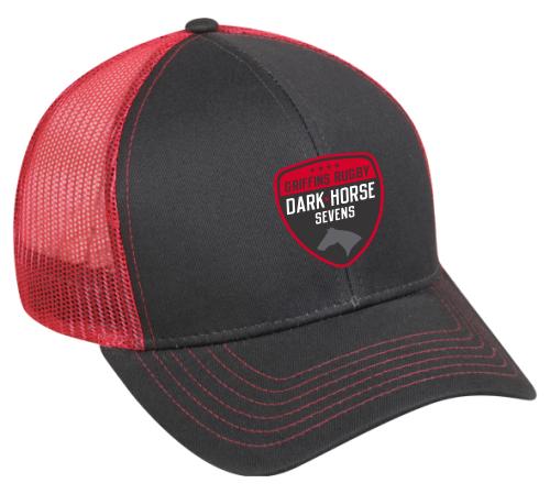 Dark Horse 7s Mesh-Back Adjustable Hat, Charcoal/Red