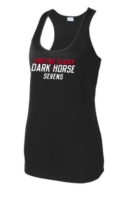 Dark Horse 7s Ladies-Cut Racerback Tank, Black