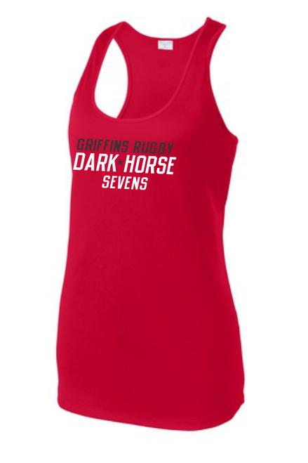 Dark Horse 7s Ladies-Cut Racerback Tank, Red