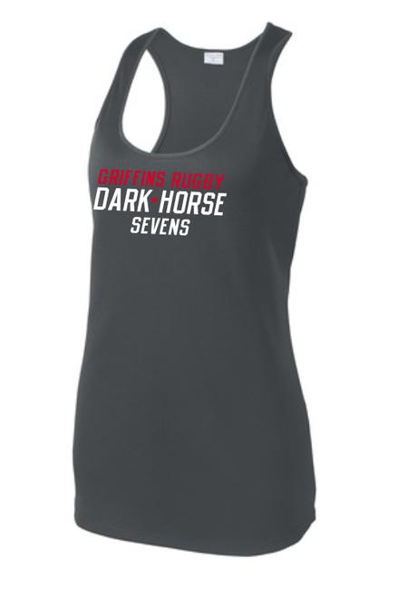 Dark Horse 7s Ladies-Cut Racerback Tank, Charcoal