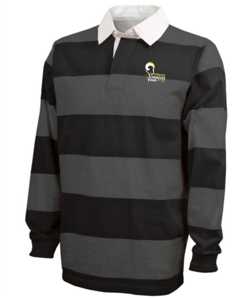 Syracuse Chargers Stripe Polo, Gray/Black