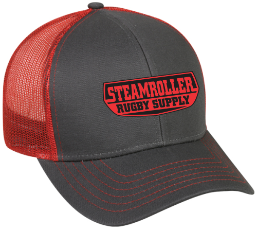 SRS Mesh-Back Adjustable Hat, Gray/ Red