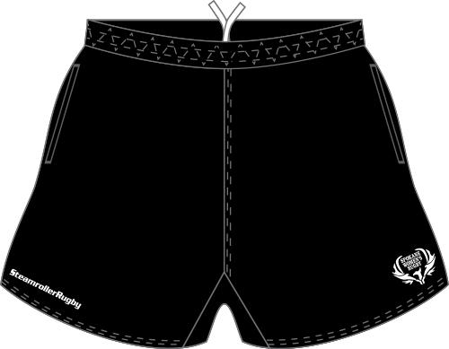 Spokane SRS Pocketed Performance Rugby Shorts, Black