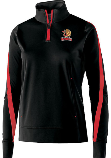 Raleigh Venom 1/4-Zip PolyStretch Pullover, Black/Red