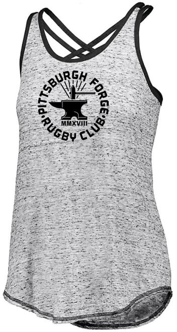 Forge Criss Cross-Strap Ladies Tank, Gray/Black