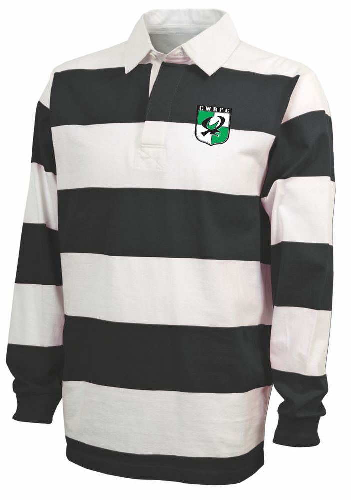 Chesapeake Rugby Stripe Polo, Black/White