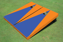 Blue And Orange Matching Triangle No Stripe Custom Cornhole Board